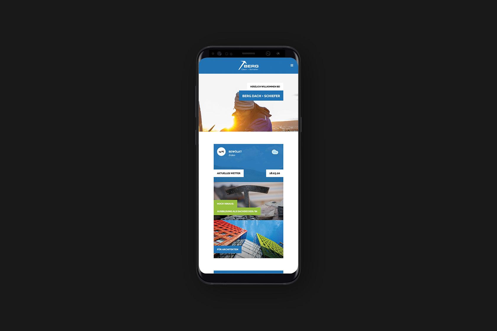 Responsive Webdesign für Berg Dach + Schiefer aus Erden