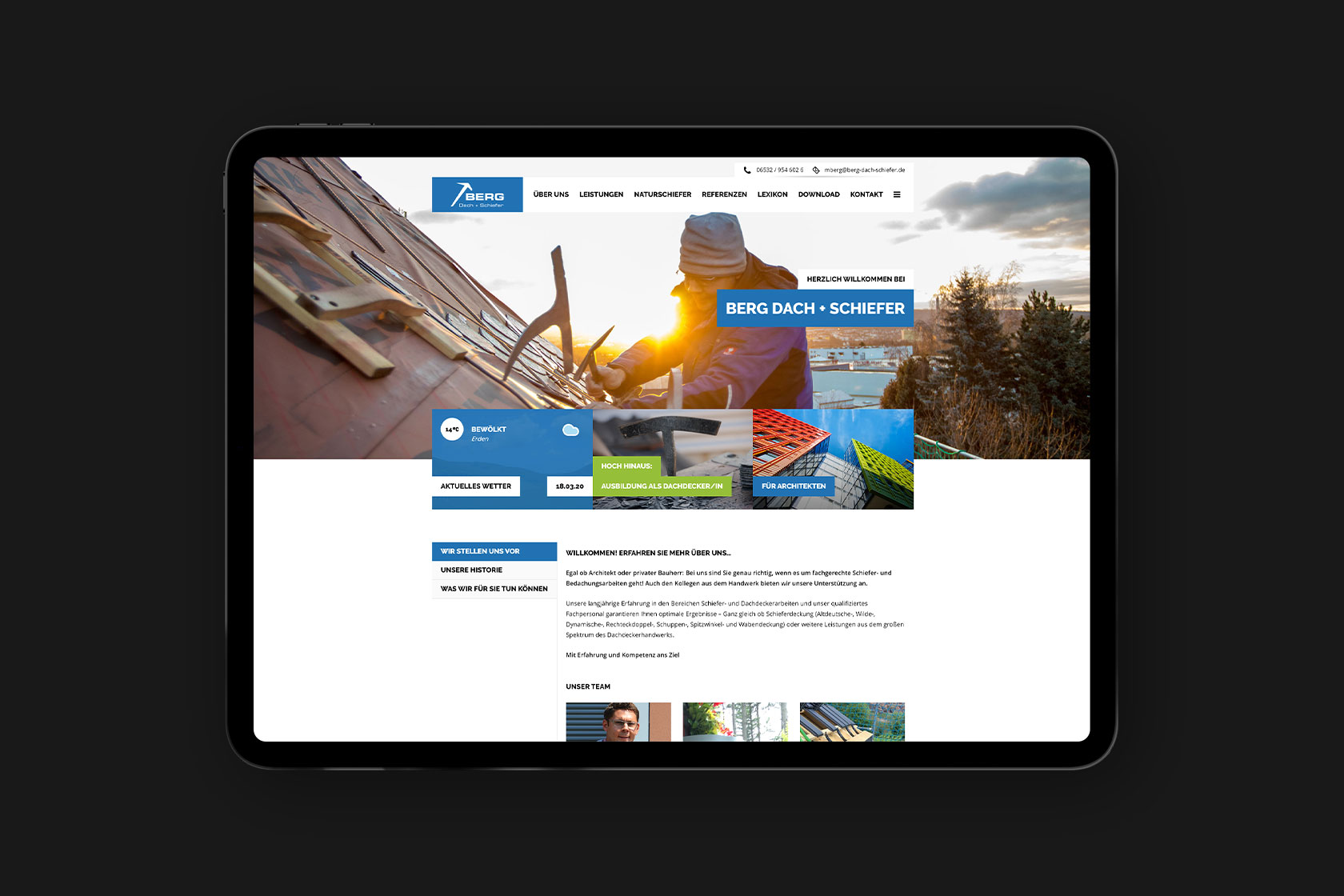 Webdesign für Berg Dach + Schiefer aus Erden