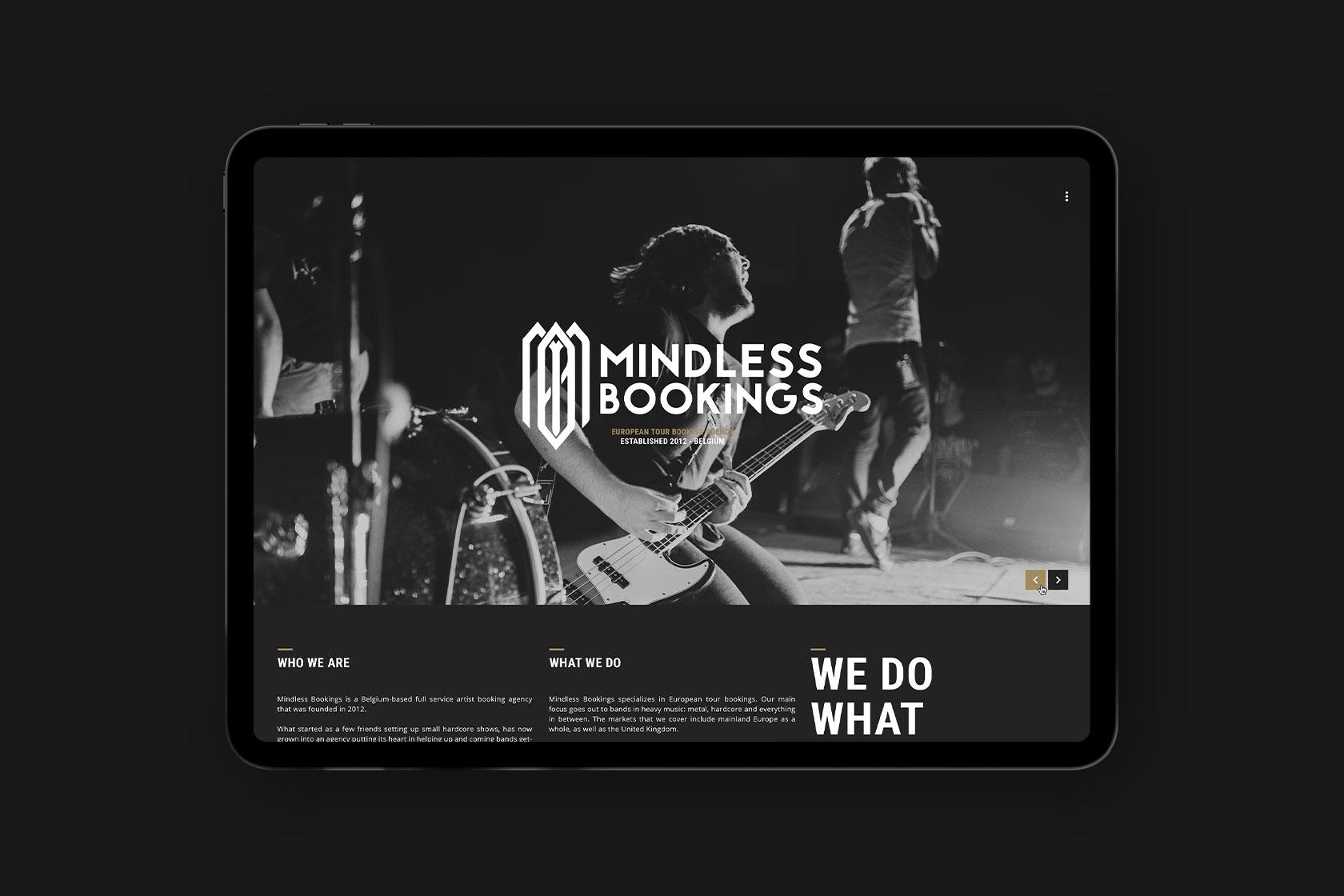 Webdesign für Mindless Bookings aus Belgien