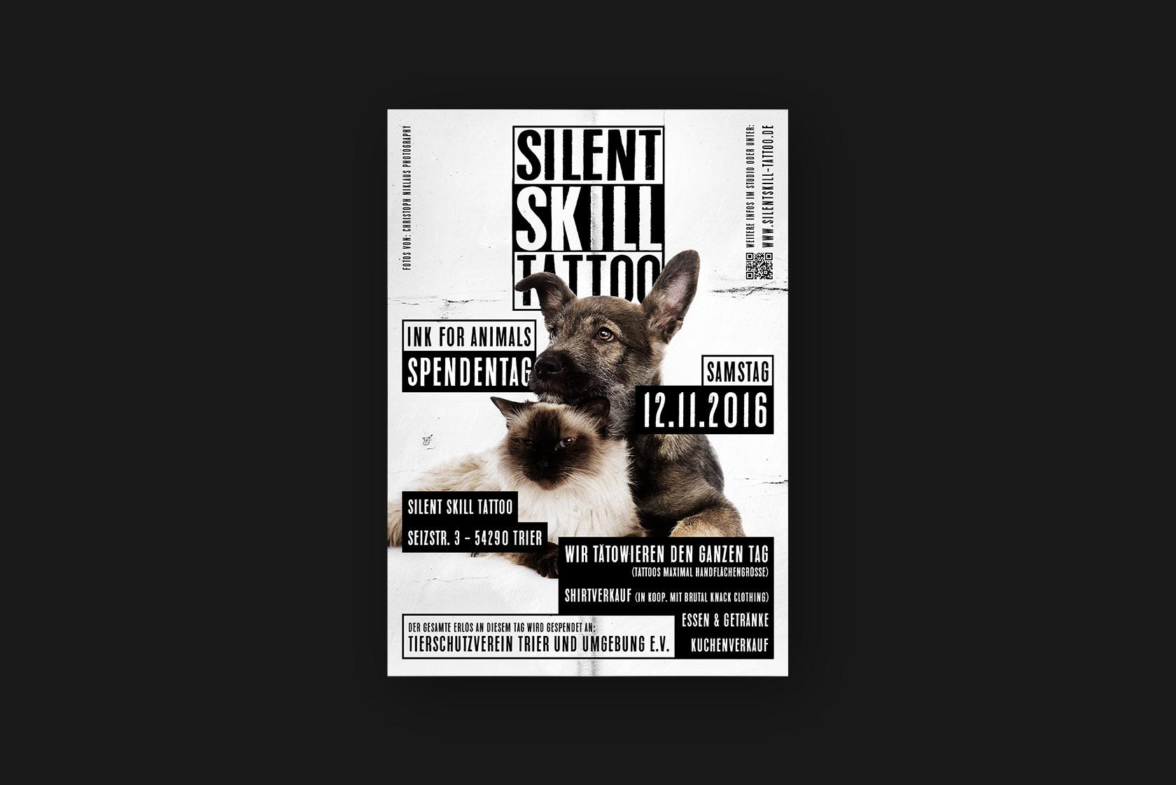 Printdesign für Silent Skill Tattoo aus Trier