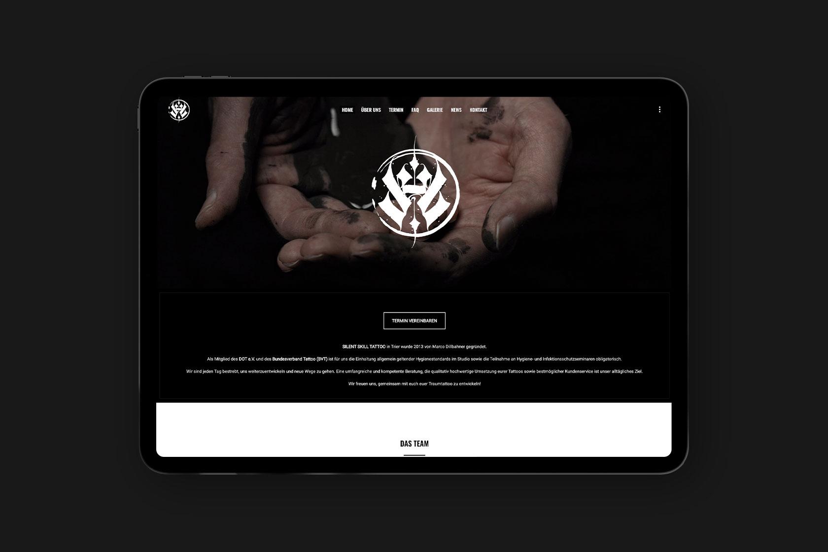 Webdesign für Silent Skill Tattoo aus Trier