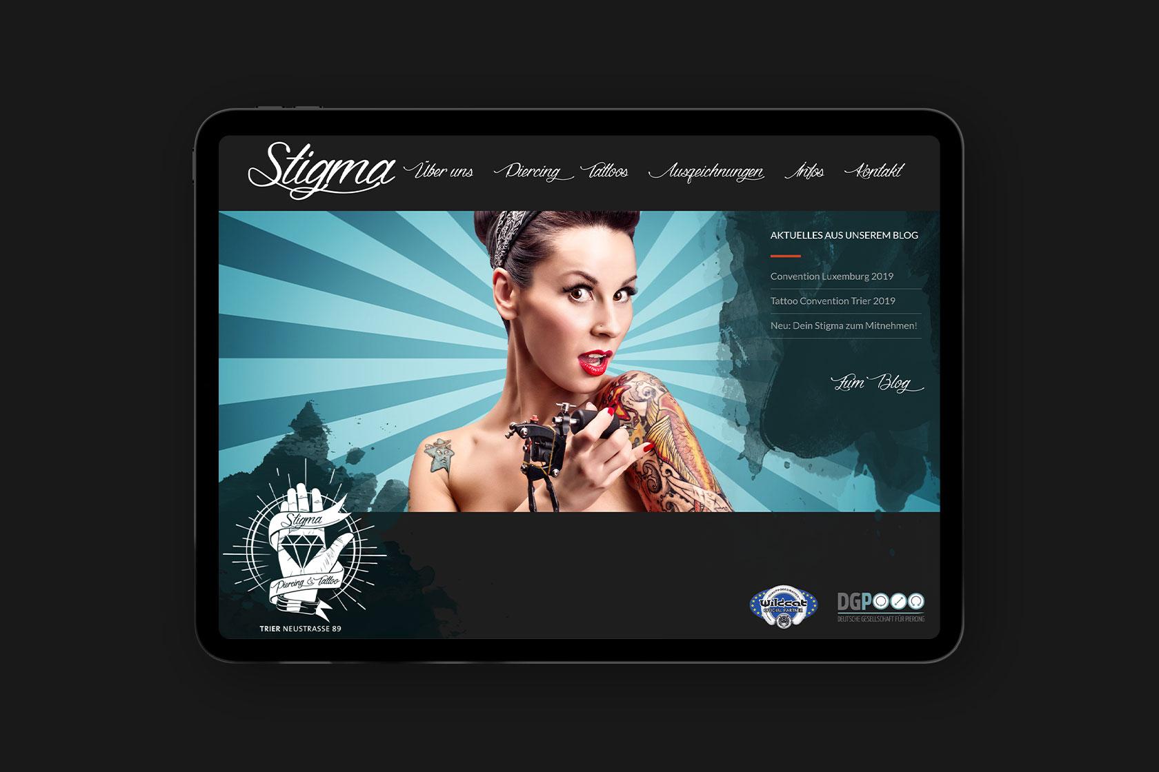 Webdesign für Stigma Bodypiercing und Tattoo-Studio aus Trier