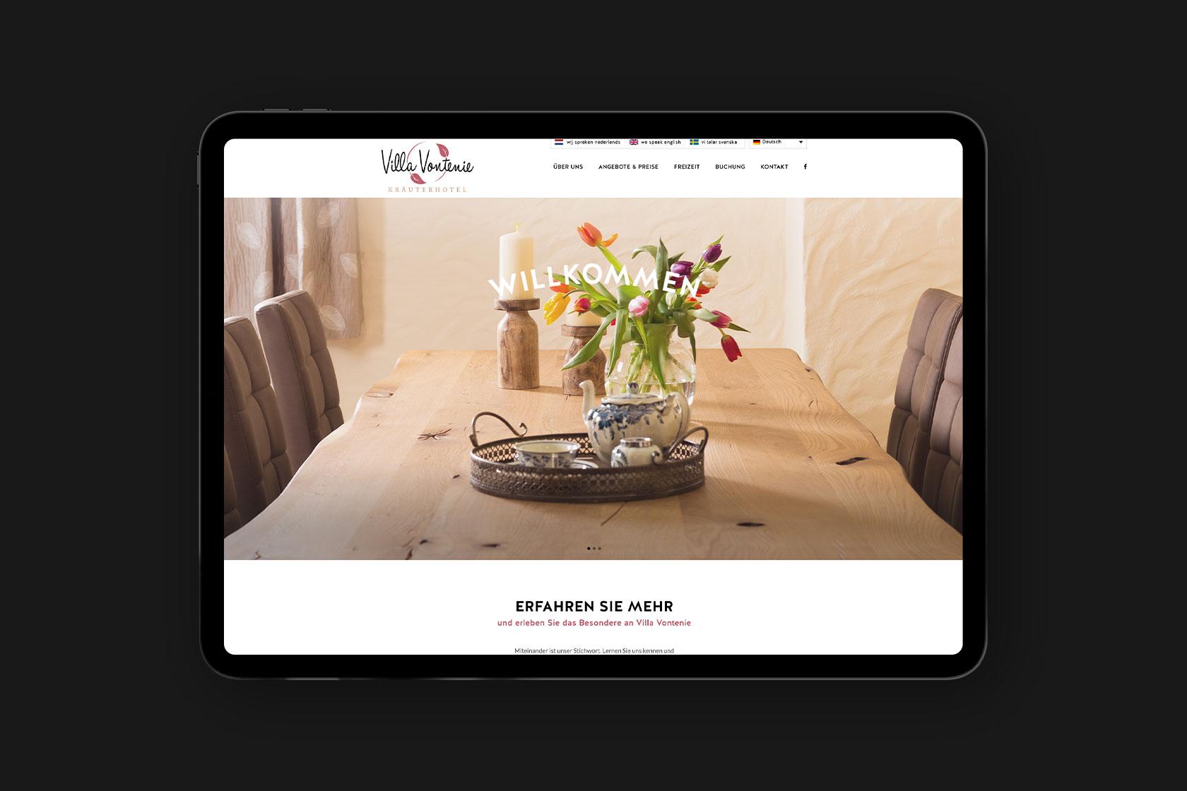 Webdesign für Villa Vontenie aus Kordel