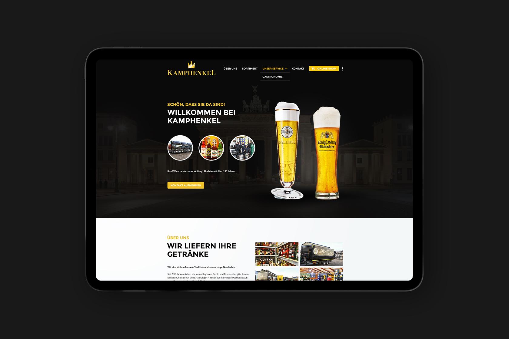 Website von Getränke Kamphenkel - Warsteiner Distribution