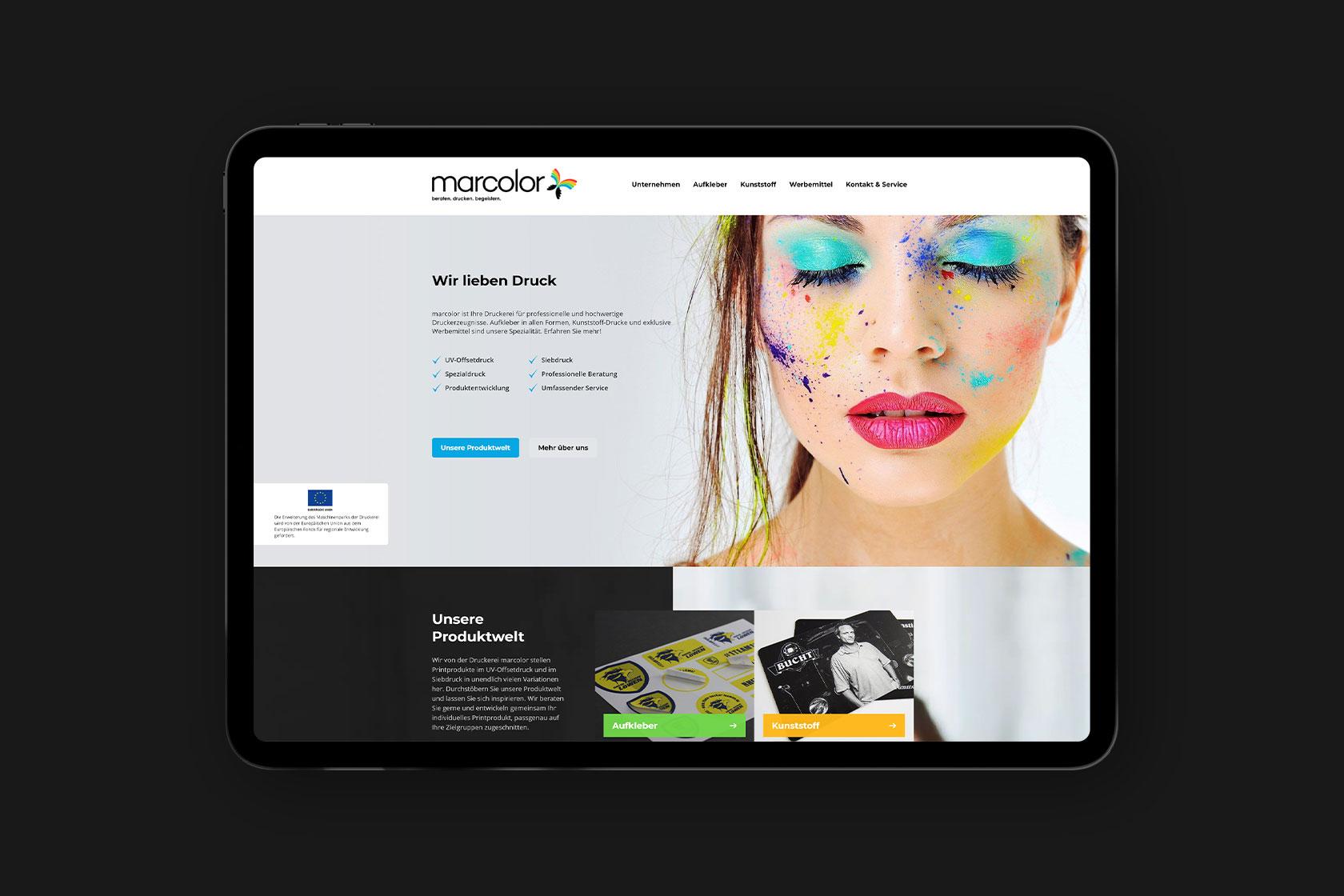 Webdesign für marcolor GmbH & Co. KG aus Speicher