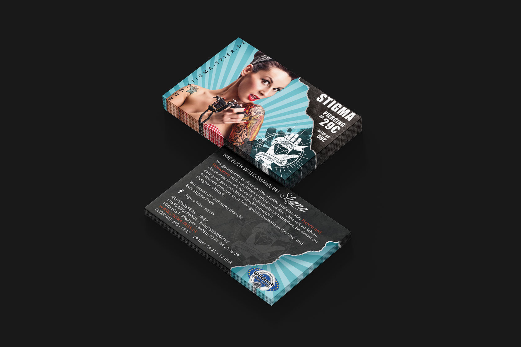 Visitenkarte von Stigma Tattoo und Piercing