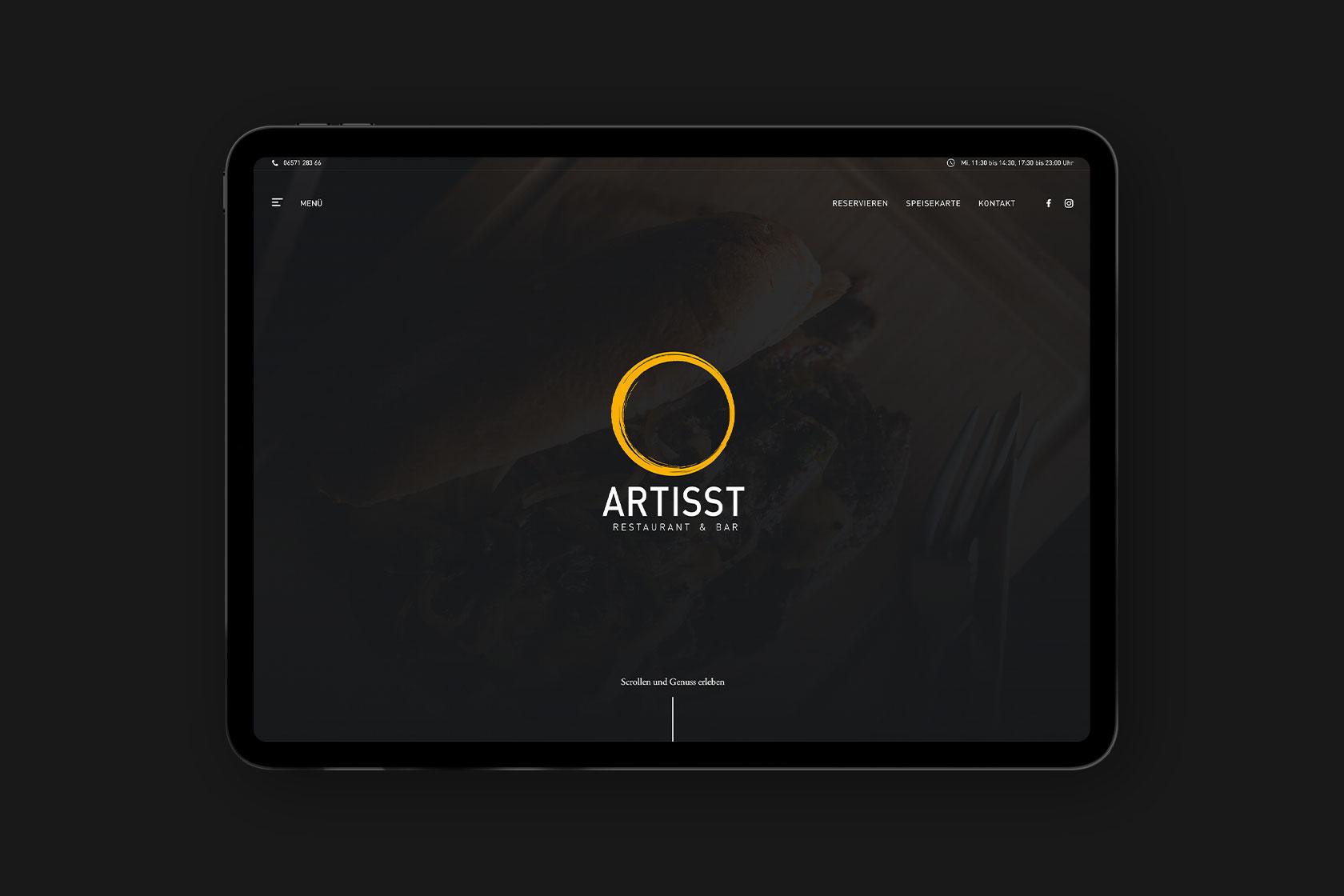 Webdesign für Restaurant Artisst in Wittlich