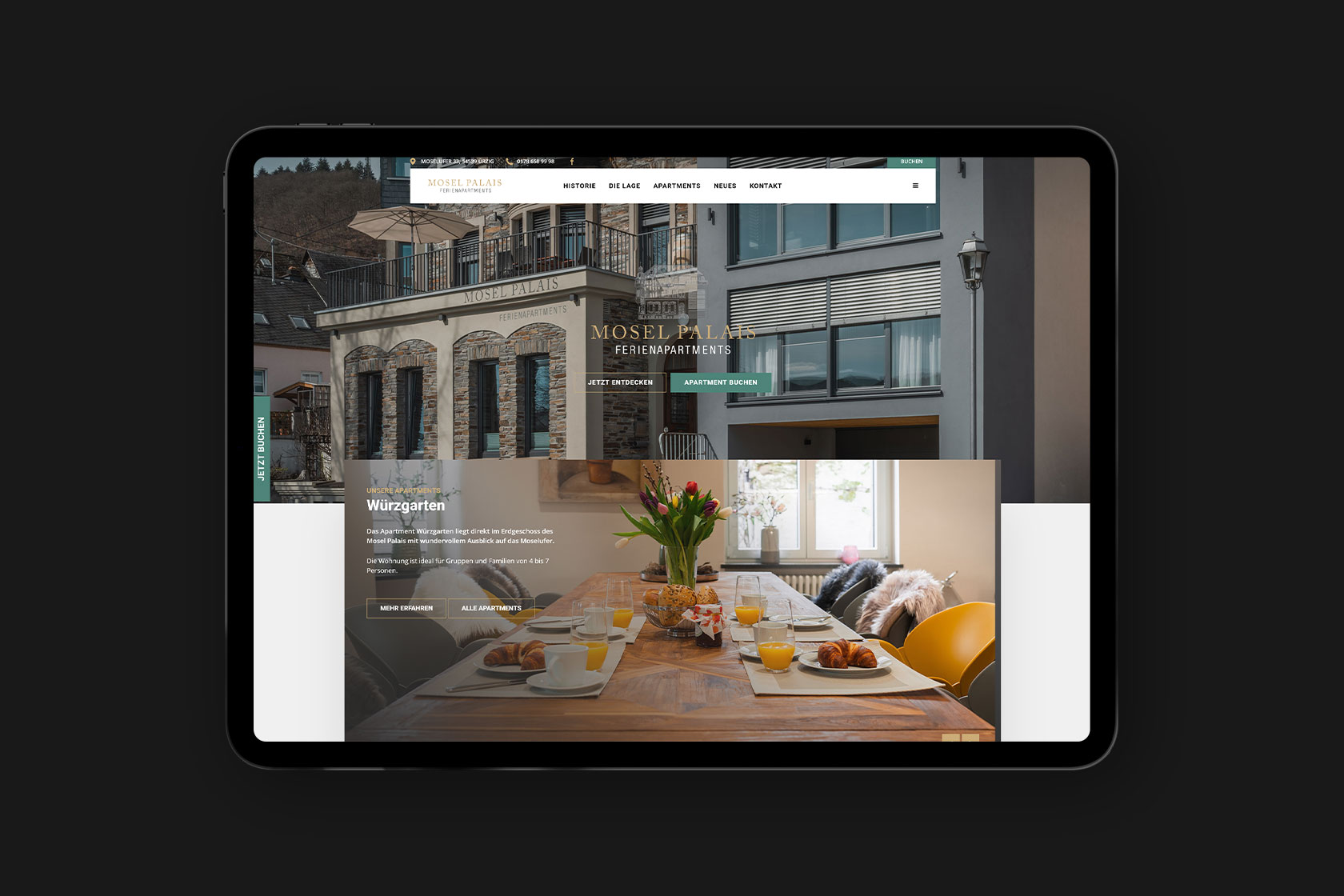Website für Mosel Palais aus Uerzig