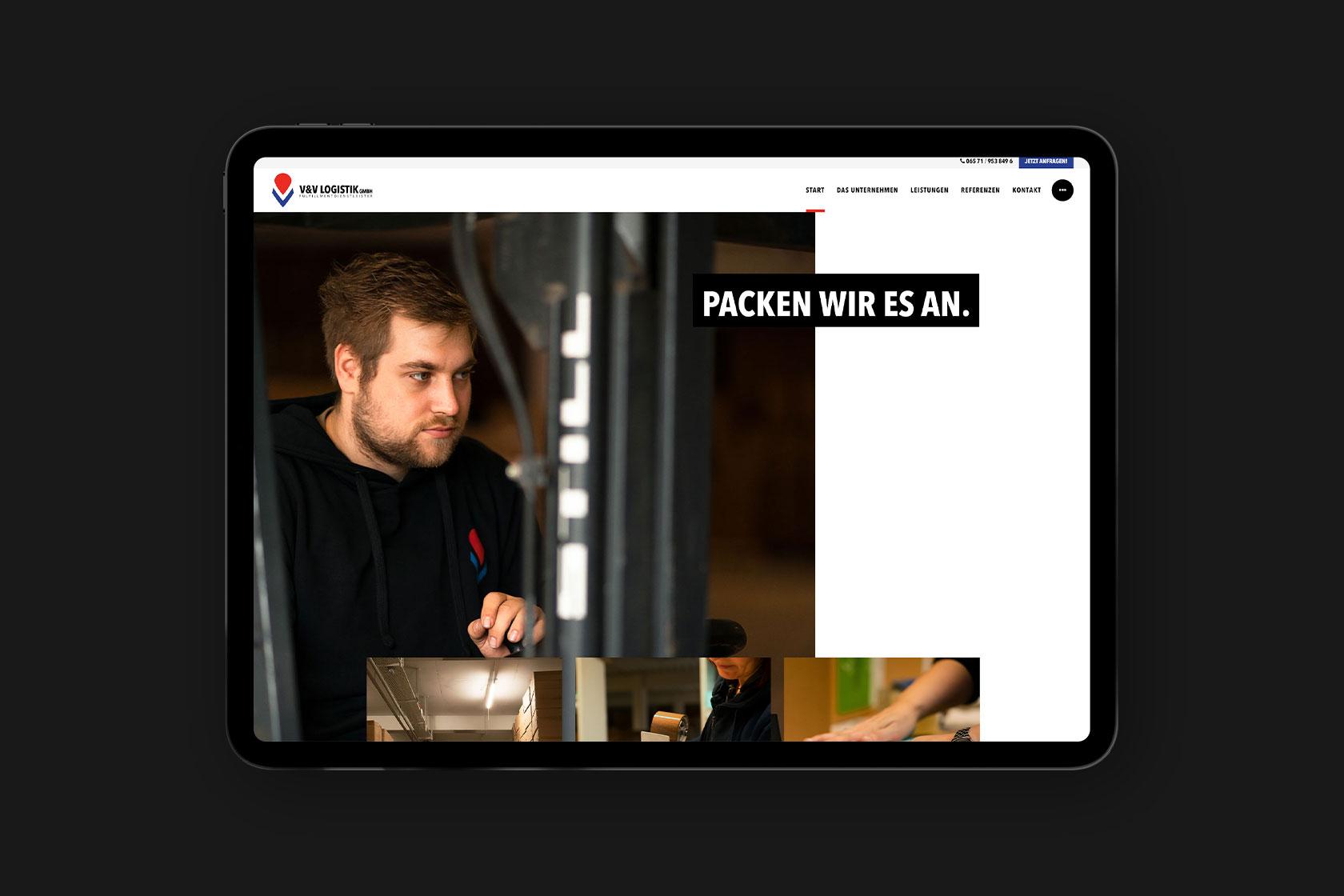 Website von V & V Logistik aus Wittlich