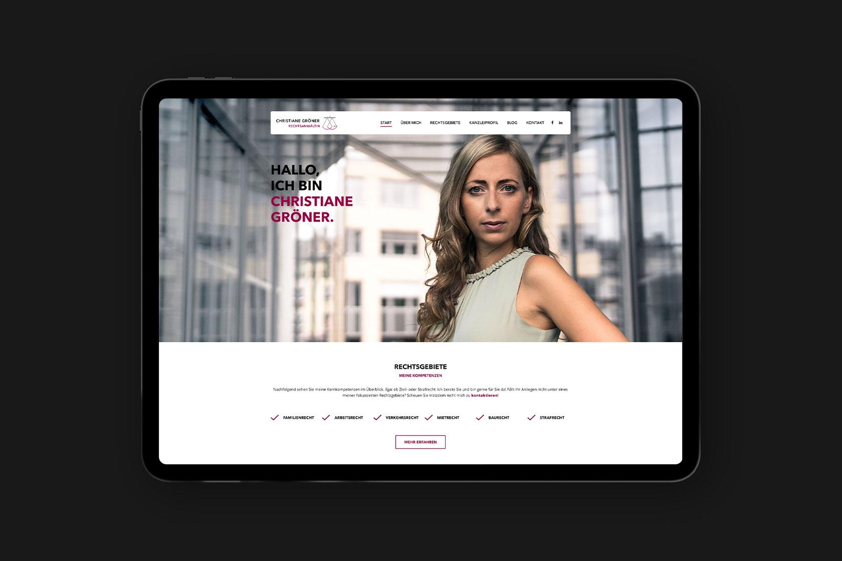 Webdesign und Entwicklung von Anwaltskanzlei Gröner