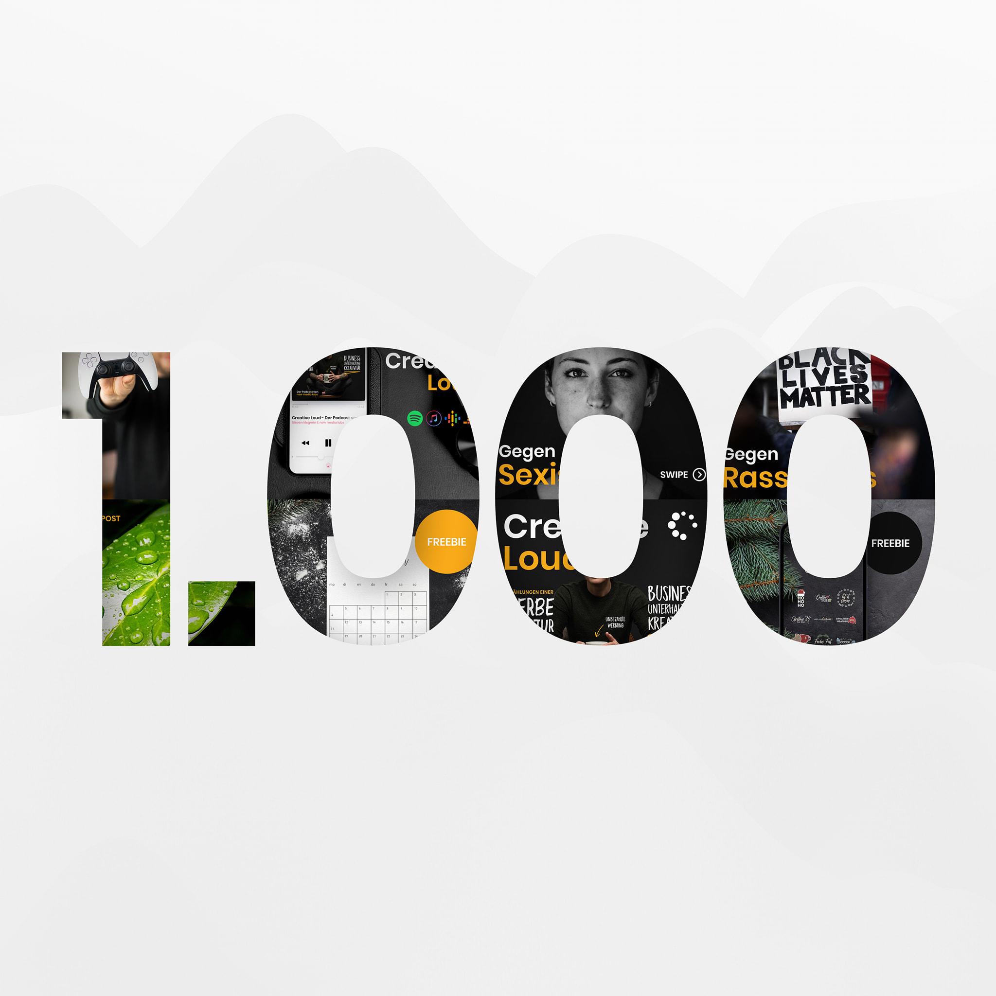Danke für 1.000 Abonnenten bei Instagram